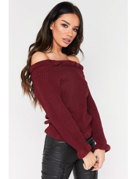 robin-wine-frill-knitted-bardot-jumper by misspap
