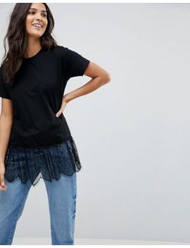 asos-t-shirt-with-paneled-lace-ruffle-hem by asos-collection