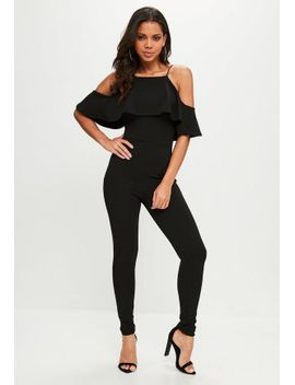 black-90s-neck-frill-jumpsuit by missguided
