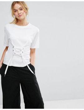 monki-corset-lace-front-t-shirt by monki