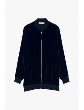 velvet-silk-blend-long-zipper-jacket by genuine-people