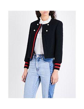 voltali-striped-trim-wool-blend-jacket by maje