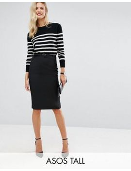 asos-tall-tailored-belted-pencil-skirt-in-longer-length by asos-tall