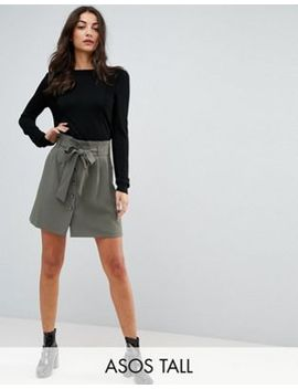 asos-tall-tailored-paperbag-waist-mini-skirt by asos-tall