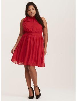 retro-chic-red-textured-dot-chiffon-dress by torrid