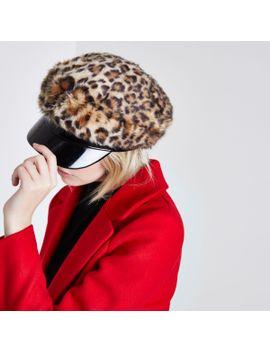 brown-leopard-print-faux-fur-baker-boy-hat by river-island