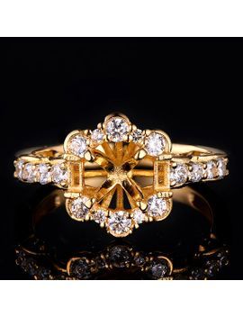 semi-mount-flower-engagement--ring-with-1ct-diamond-basket-mount--dyr-028y by etsy