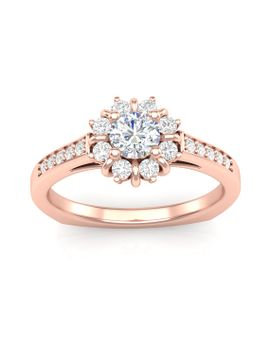 rose-gold-engagement-ring-flower-halo-ring-30-ct-h,-si-round-diamonds-semi-mount-for-035-ct-round-center-brand-new-14k-setting-only by etsy