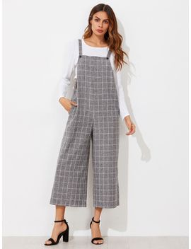 grid-pinafore-culotte-jumpsuit by sheinside