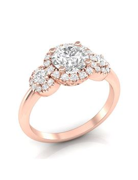 rose-gold-engagement-ring-three-stone-ring-triple-halo-for-her-ring-plain-band-forever-one-colorless-moissanite-semi-mount-14k-new-setting by etsy