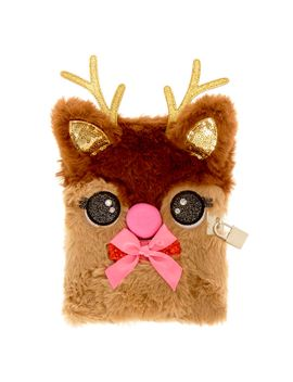 holly-the-reindeer-light-up-plush-lock-diary by claires