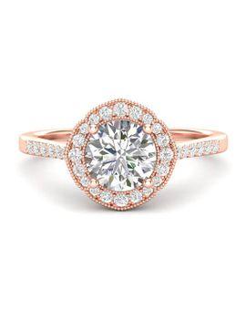 14k-flower-halo-engagement-ring-rose-gold-ring-milgrain-ring-floral-ring-forever-one-colorless-ring-for-her-moissanite-forever-one-ring by etsy