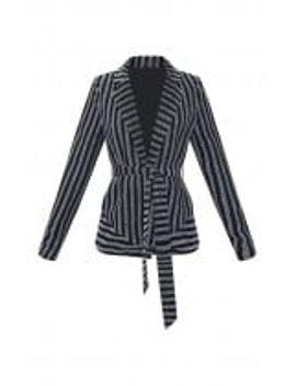 metallic-silver-stripe-belted-blazer by prettylittlething