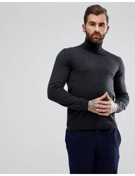 asos-merino-roll-neck-jumper-in-charcoal by asos