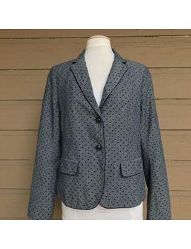 gap-womens-the-academy-blazer-jacket-denim-navy-polka-dot---sz-12 by ebay-seller