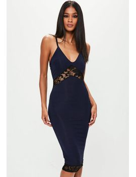 navy-strappy-slinky-lace-insert-midi-dress by missguided
