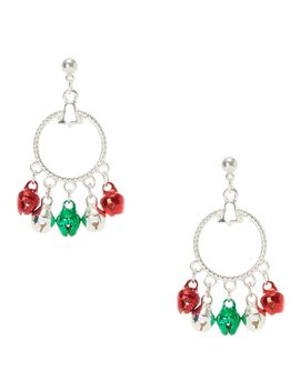 red,-green-and-silver-jingle-bell-drop-hoop-earrings by claires