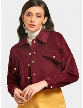snap-button-corduroy-cropped-jacket---wine-red-s by zaful