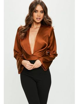 bronze-drape-plunge-flare-sleeve-bodysuit by missguided