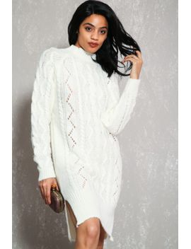 sexy-white-cable-knit-turtleneck-casual-sweater-dress by ami-clubwear