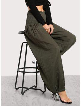 high-rise-shirred-waist-tie-hem-pants-olive by makemechic
