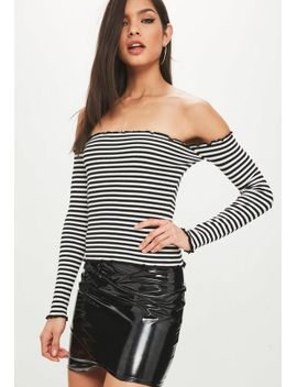 monochrome-frill-trim-rib-knit-bardot-top by missguided