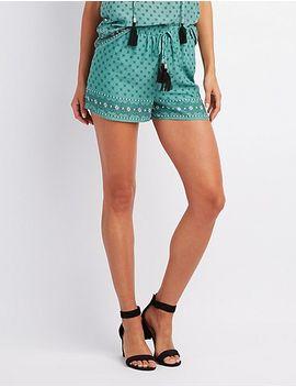 border-print-tassel-tie-shorts by charlotte-russe