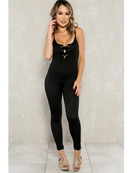 sexy-black-front-lace-up-sleeveless-casual-jumpsuit by ami-clubwear