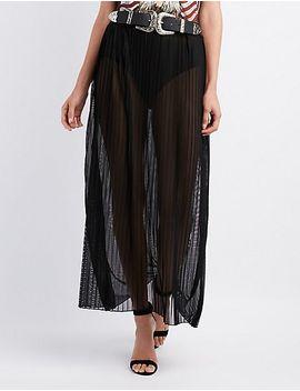 sheer-pleated-mesh-skirt by charlotte-russe