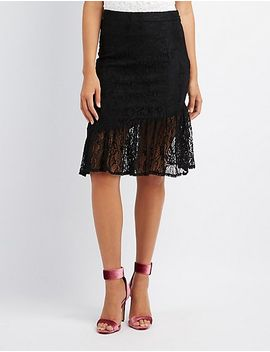 ruffle-trim-lace-pencil-skirt by charlotte-russe