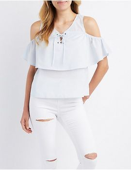 cold-shoulder-lace-up-ruffle-top by charlotte-russe