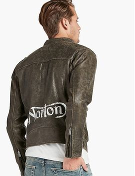 hand-painted-norton-leather-jacket by lucky-brand