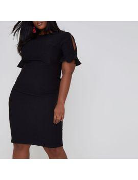plus-black-frill-split-sleeve-midi-dress by river-island