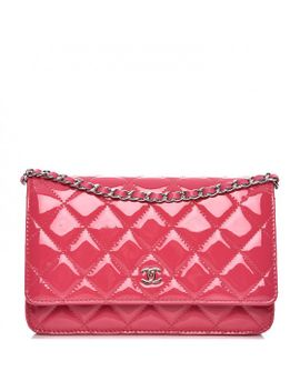 chanel-patent-quilted-wallet-on-chain-woc-fuchsia by chanel