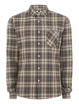 navy-and-brown-stone-check-shirt by topman