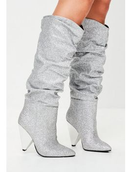 silver-ruched-calf-boots by missguided