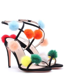 fur-trimmed-suede-sandals by fendi