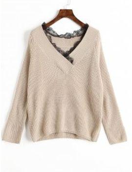 v-neck-lace-trim-sweater---apricot by zaful