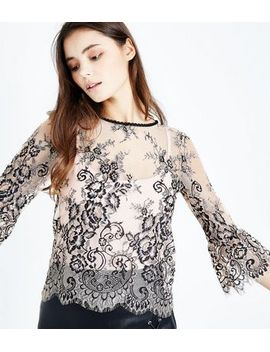 shell-pink-2-tone-lace-bell-sleeve-top by new-look