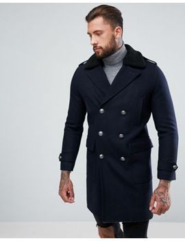 asos-wool-mix-trench-coat-with-borg-collar-in-navy by asos