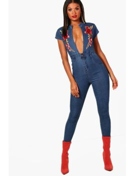 rose-embroidered-plunge-denim-jumpsuit by boohoo