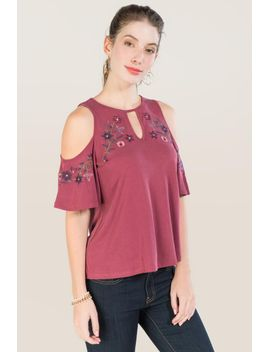 libby-keyhole-cold-shoulder-embroidered-cupro-top by francescas