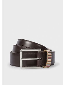 mens-brown-leather-belt-with-signature-stripe-keeper by paul-smith