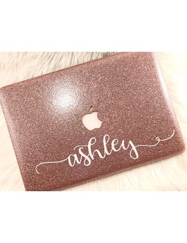 glitter-macbook-case-with-script-name-|-smooth-texture-|-air-11-13-|-pro-13-15-|-retina-|-touchbar by etsy