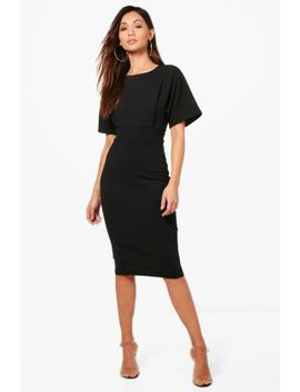 petite-tie-waist-formal-wiggle-midi-dress by boohoo