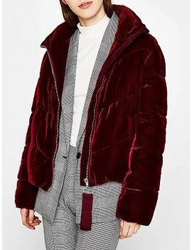 burgundy-velvet-long-sleeve-padded-coat by choies