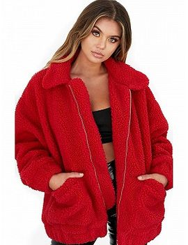 red-long-sleeve-faux-fur-coat by choies