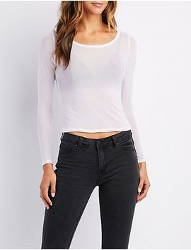 sheer-mesh-fitted-top by charlotte-russe