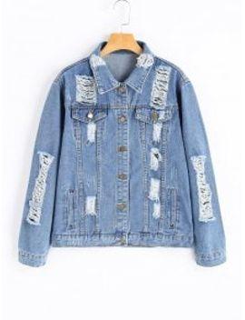 boyfriend-ripped-denim-jacket---denim-blue-m by zaful