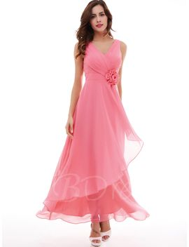 v-neck-a-line-pleated-chiffon-flower-long-evening-dress by tanpell